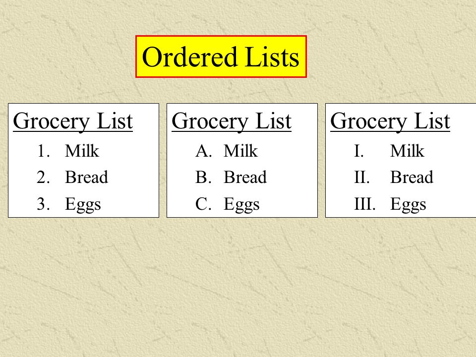 Grocery List A. Milk B. Bread C. Eggs Ordered Lists Grocery List I. Milk II. Bread III. Eggs Grocery List 1. Milk 2. Bread 3. Eggs