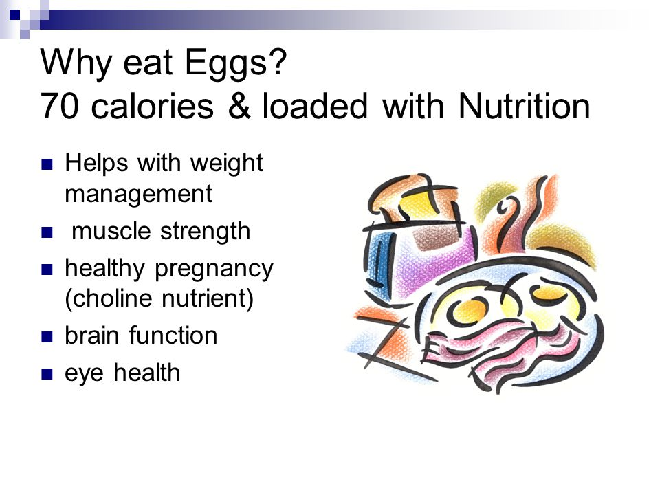 Why eat Eggs? 70 calories & loaded with Nutrition Helps with weight management muscle strength healthy pregnancy (choline nutrient) brain function eye