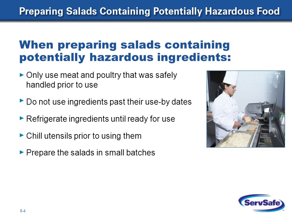 8-5 When preparing eggs and egg mixtures: Handle pooled eggs (if allowed) with special care Clean and sanitize equipment and utensils used to prepare eggs Use pasteurized shell eggs or egg products when: Serving high-risk populations Preparing dishes requiring little or no cooking