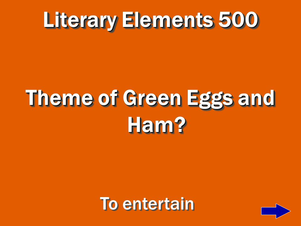 Literary Elements 400 Author of Green Eggs and Ham Dr. Seuss