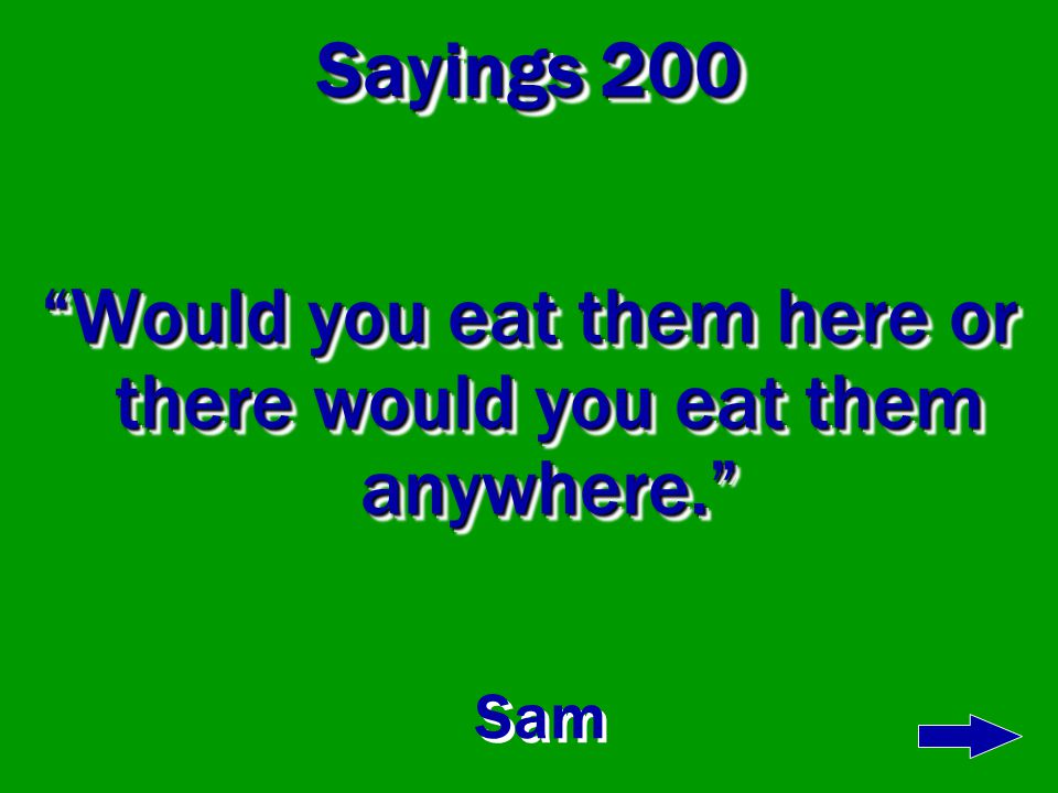 Sayings 100 I am Sam, Sam I am I am Sam, Sam I am Sam