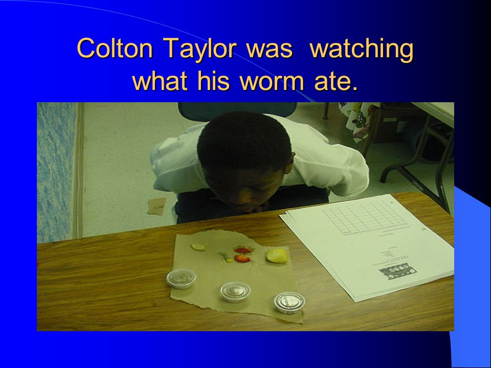 Colton Taylor was watching what his worm ate.