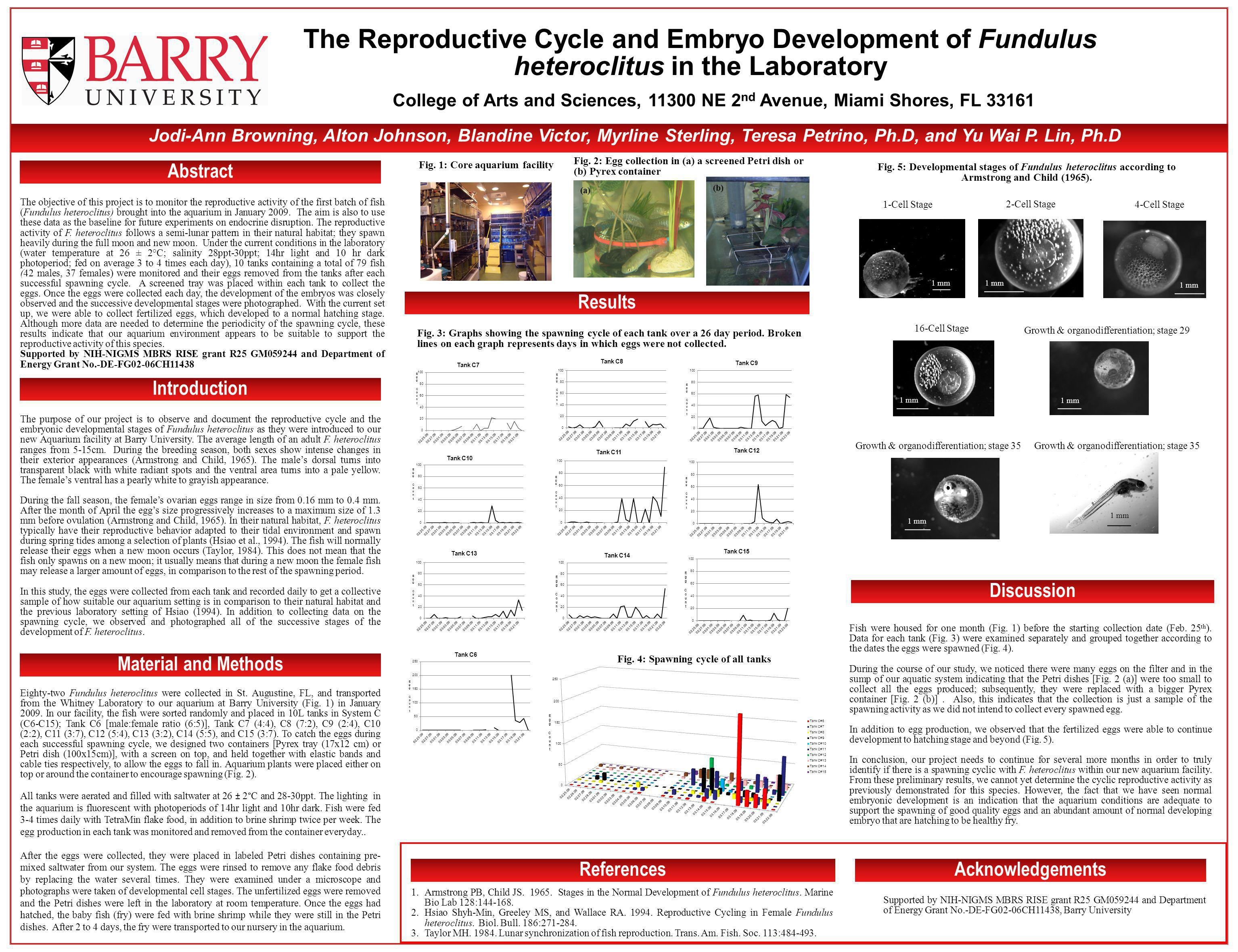 The Reproductive Cycle and Embryo Development of Fundulus heteroclitus in the Laboratory Abstract Introduction Material and Methods Results Discussion ReferencesAcknowledgements Jodi-Ann Browning, Alton Johnson, Blandine Victor, Myrline Sterling, Teresa Petrino, Ph.D, and Yu Wai P.