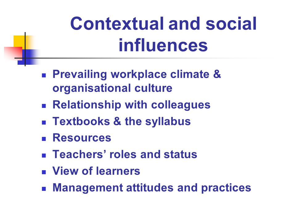 Contextual and social influences Prevailing workplace climate & organisational culture Relationship with colleagues Textbooks & the syllabus Resources