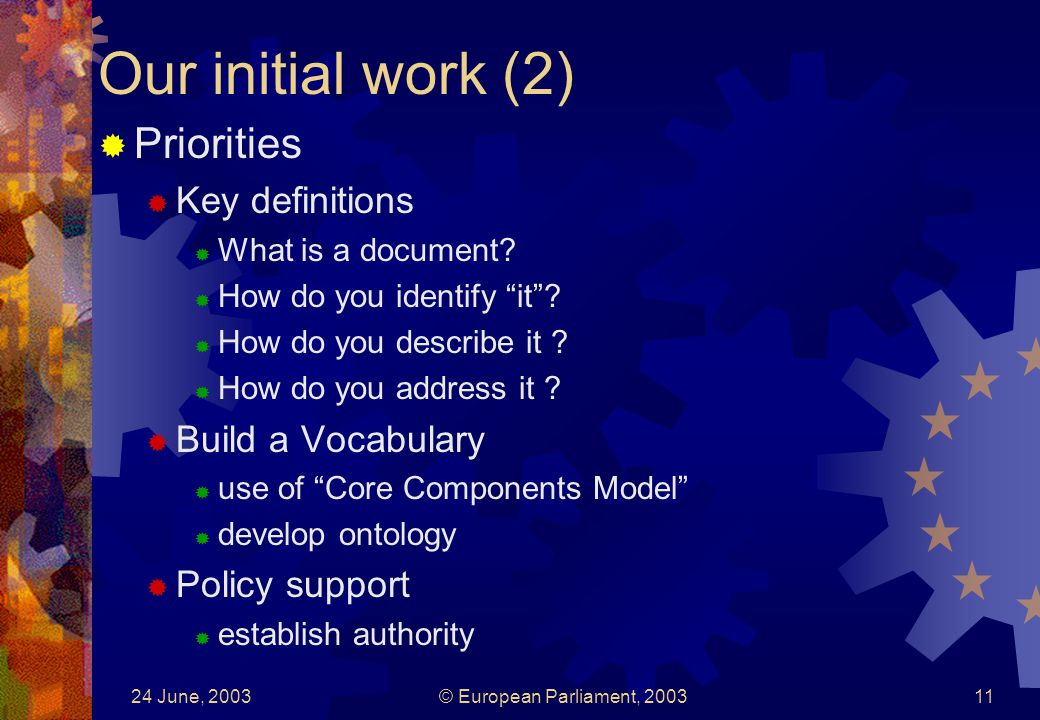 24 June, 2003© European Parliament, Our initial work (2) Priorities Key definitions What is a document.