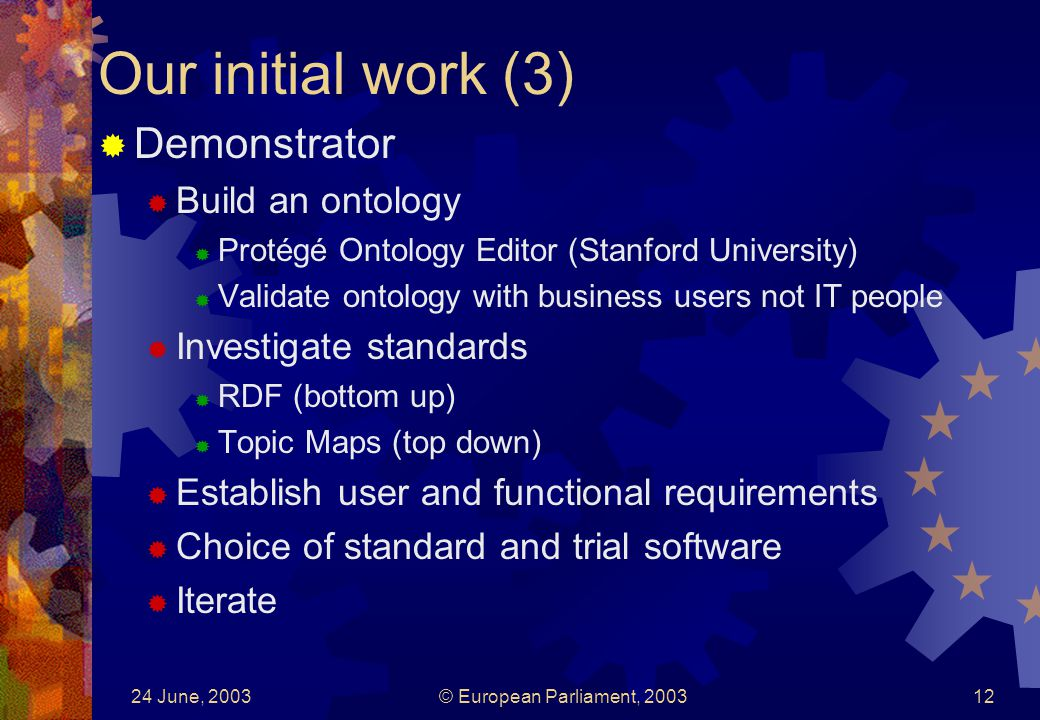24 June, 2003© European Parliament, Our initial work (3) Demonstrator Build an ontology Protégé Ontology Editor (Stanford University) Validate ontology with business users not IT people Investigate standards RDF (bottom up) Topic Maps (top down) Establish user and functional requirements Choice of standard and trial software Iterate