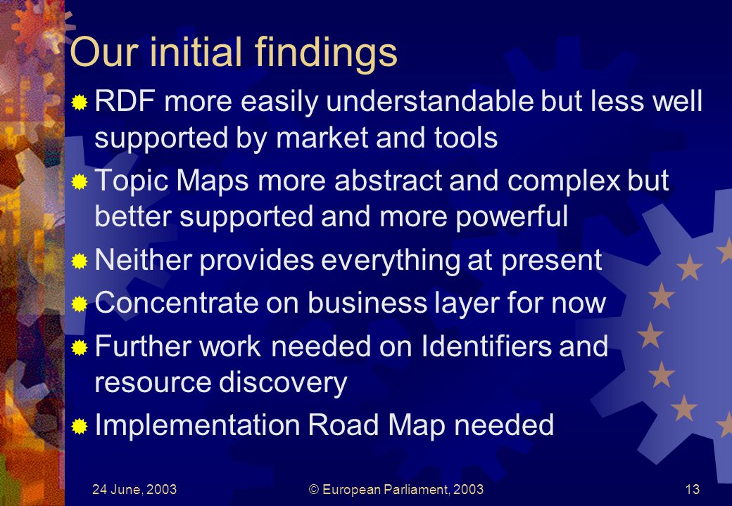24 June, 2003© European Parliament, 200313 Our initial findings RDF more easily understandable but less well supported by market and tools Topic Maps more abstract and complex but better supported and more powerful Neither provides everything at present Concentrate on business layer for now Further work needed on Identifiers and resource discovery Implementation Road Map needed