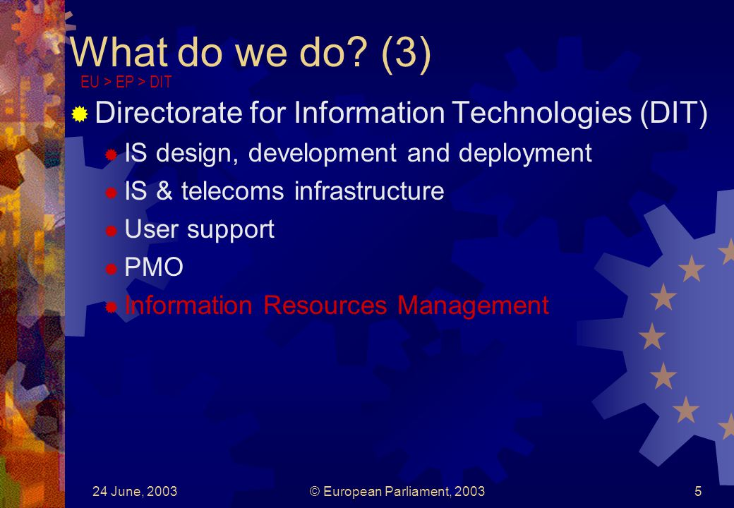 24 June, 2003© European Parliament, 20035 What do we do? (3) Directorate for Information Technologies (DIT) IS design, development and deployment IS &