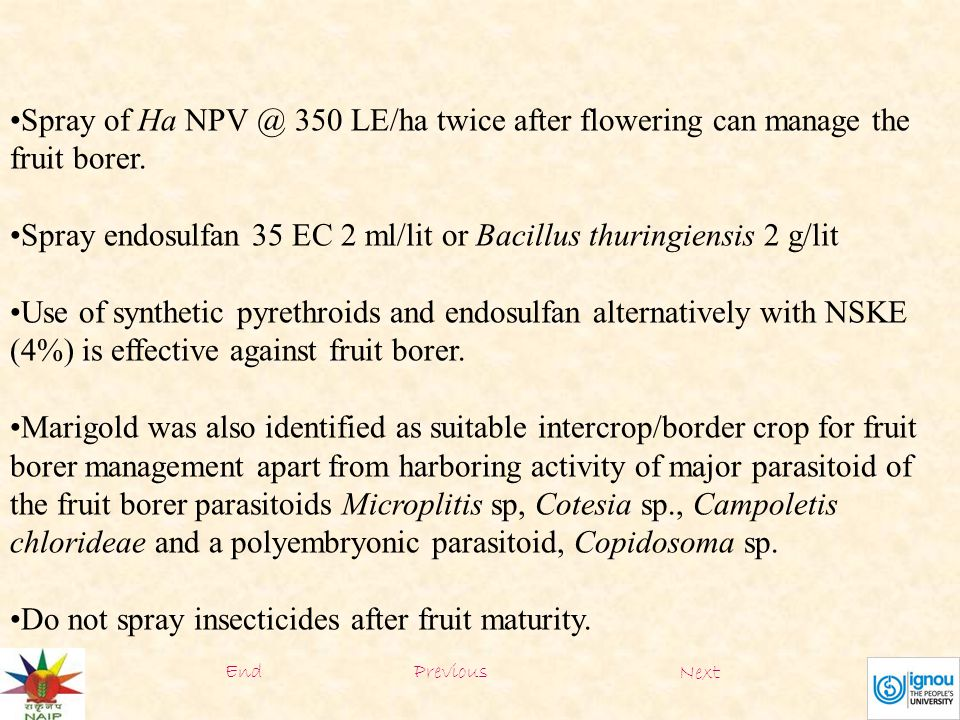 Spray of Ha NPV @ 350 LE/ha twice after flowering can manage the fruit borer.