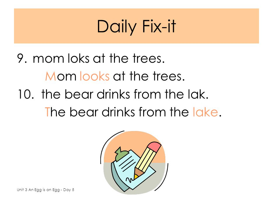 Daily Fix-it 9.mom loks at the trees. Mom looks at the trees.