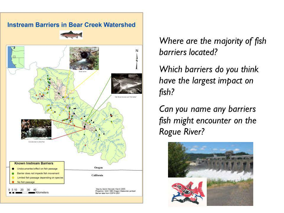 Where are the majority of fish barriers located.