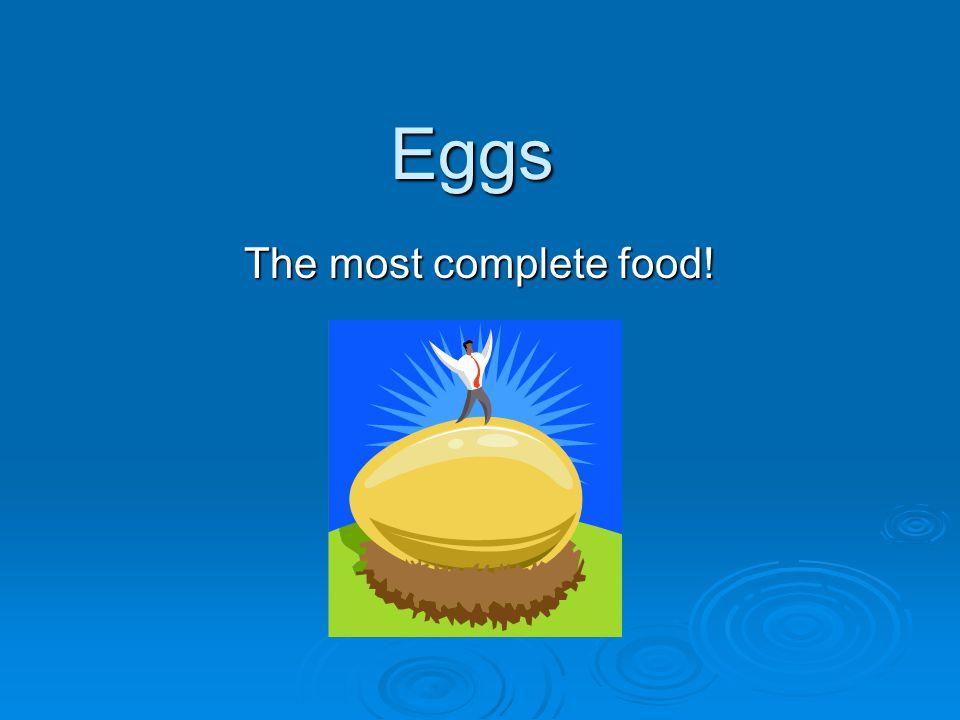 Great Source: Fat-(yolk) Fat-(yolk) Protein-(whites and yolk) Protein-(whites and yolk) Carbohydrates(yolk and white) Carbohydrates(yolk and white) Minerals Minerals Vitamins-----Except Vitamin C Vitamins-----Except Vitamin C Cholesterol200 mg Cholesterol200 mg Water-(yolk and whites) Water-(yolk and whites)