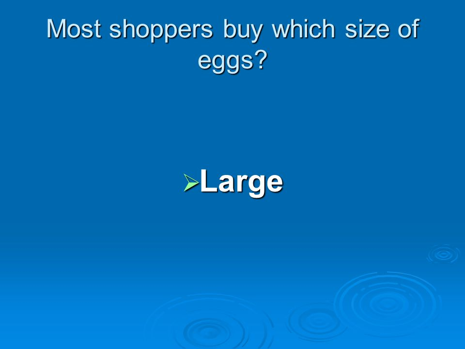 Most shoppers buy which size of eggs Large Large