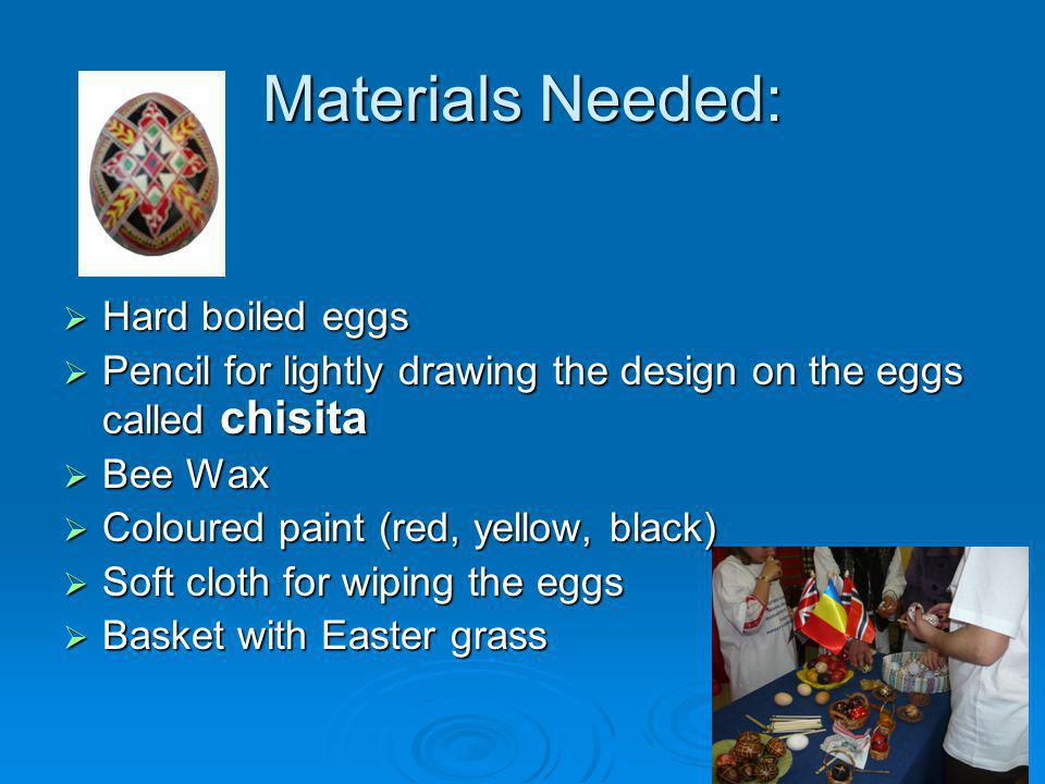 Materials Needed: Hard boiled eggs Hard boiled eggs Pencil for lightly drawing the design on the eggs called chisita Pencil for lightly drawing the de