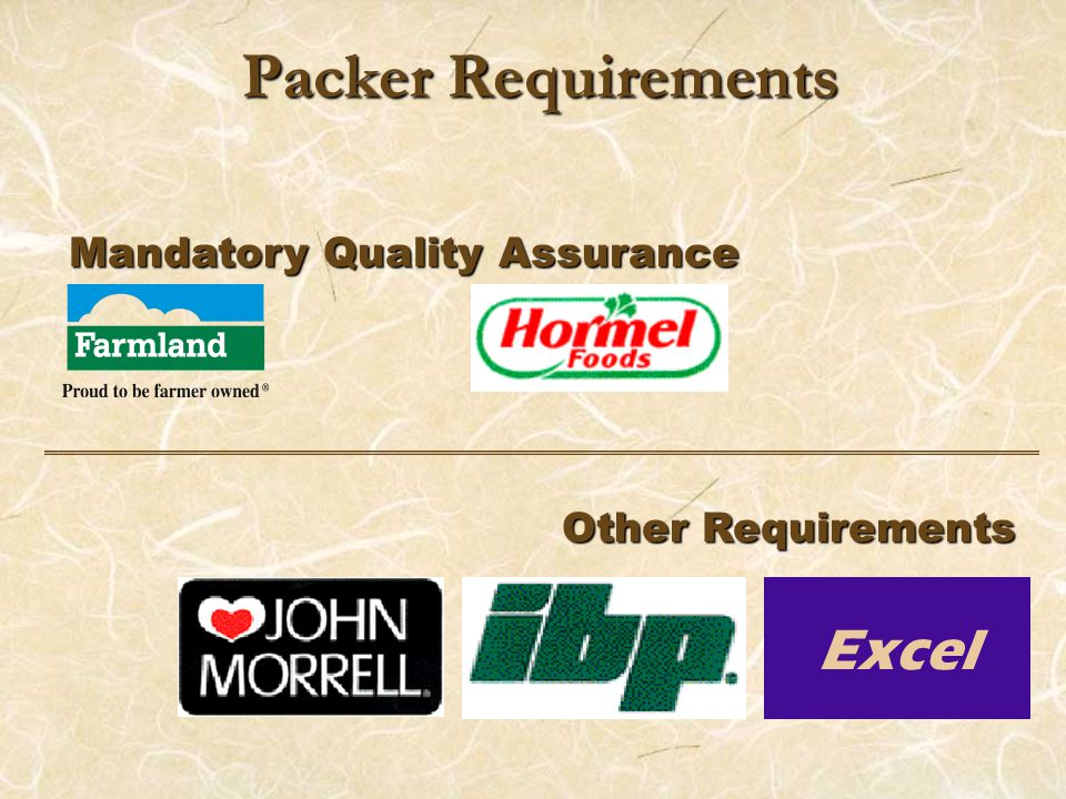 Packer Requirements Mandatory Quality Assurance Other Requirements Excel