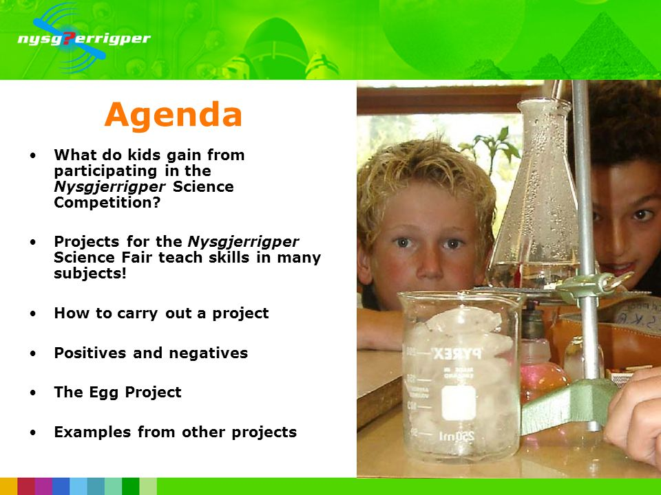 Agenda What do kids gain from participating in the Nysgjerrigper Science Competition.