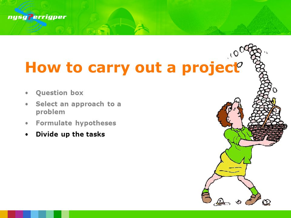 How to carry out a project Question box Select an approach to a problem Formulate hypotheses Divide up the tasks