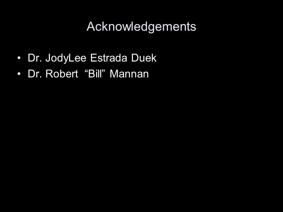 Acknowledgements Dr. JodyLee Estrada Duek Dr. Robert Bill Mannan