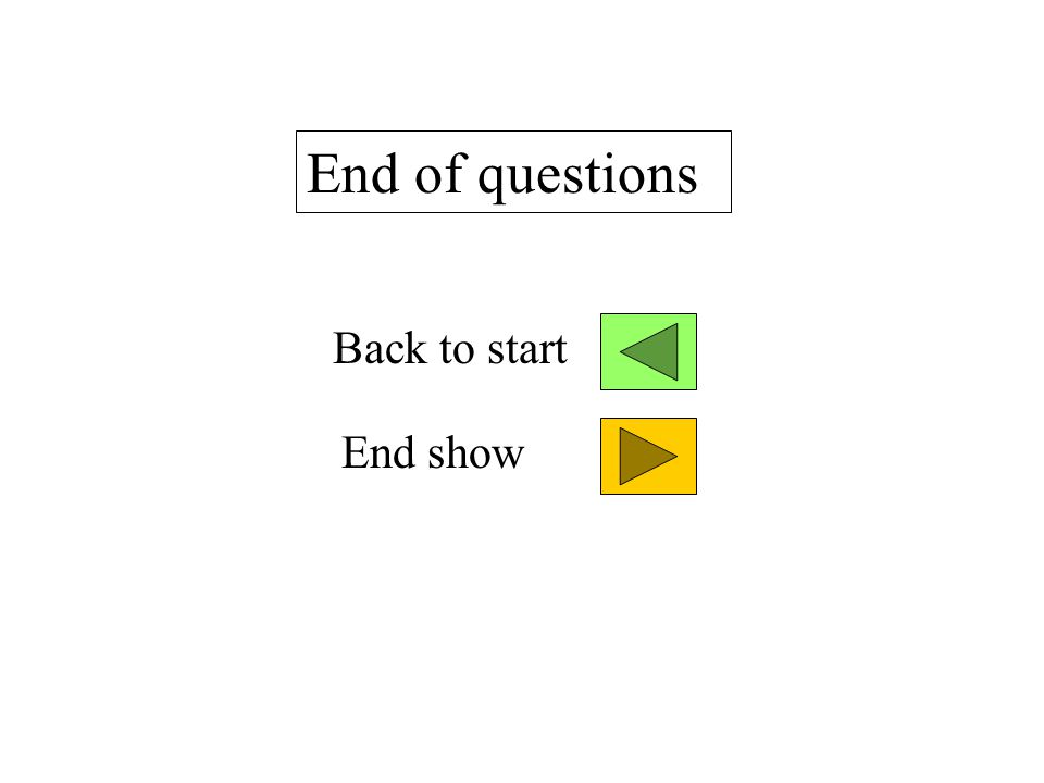 End of questions End show Back to start