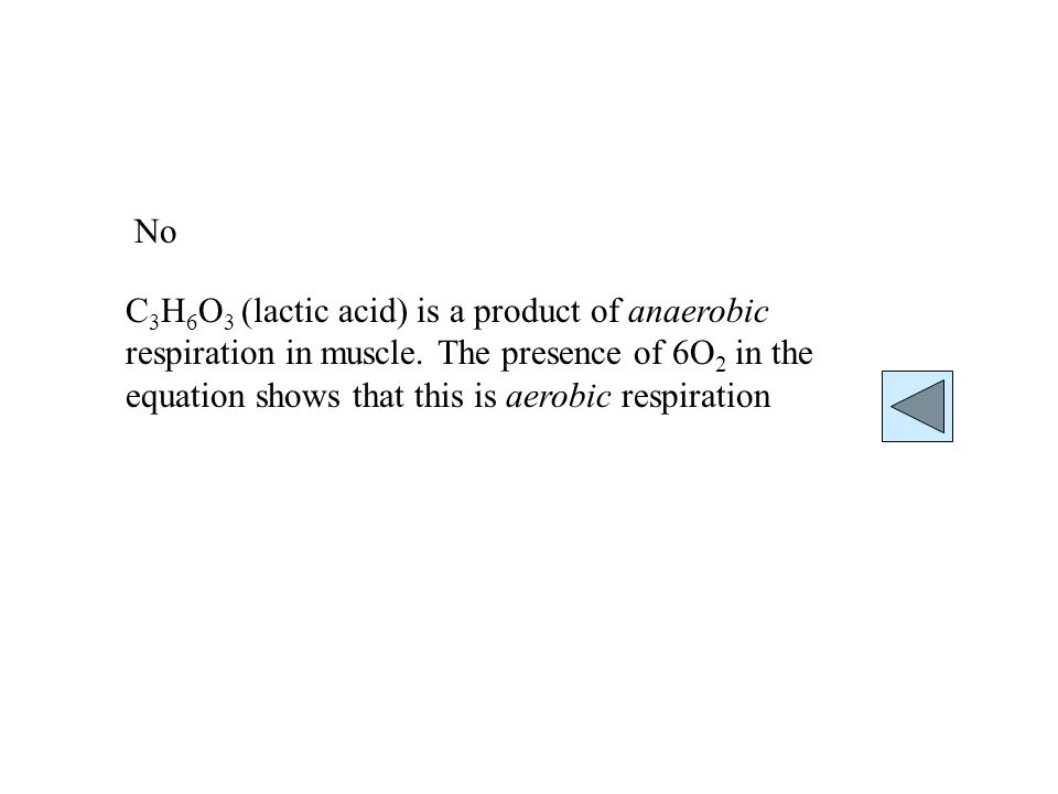 C 3 H 6 O 3 (lactic acid) is a product of anaerobic respiration in muscle.