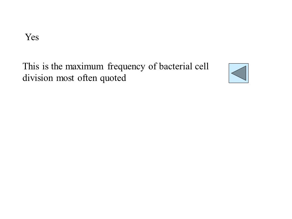 Yes This is the maximum frequency of bacterial cell division most often quoted