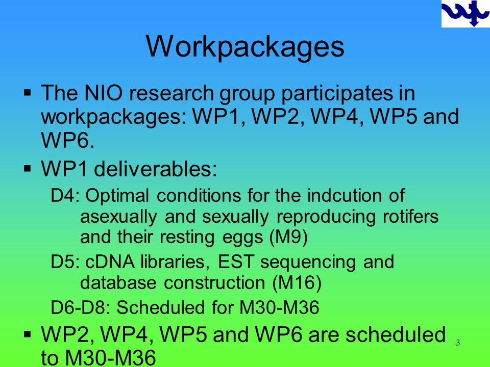 3 Workpackages The NIO research group participates in workpackages: WP1, WP2, WP4, WP5 and WP6.