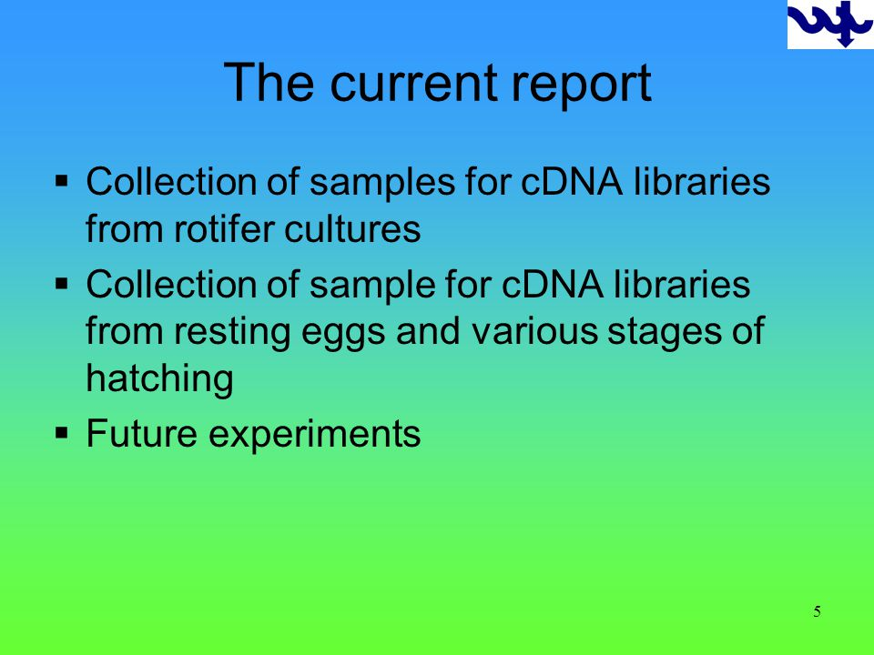 5 The current report Collection of samples for cDNA libraries from rotifer cultures Collection of sample for cDNA libraries from resting eggs and various stages of hatching Future experiments