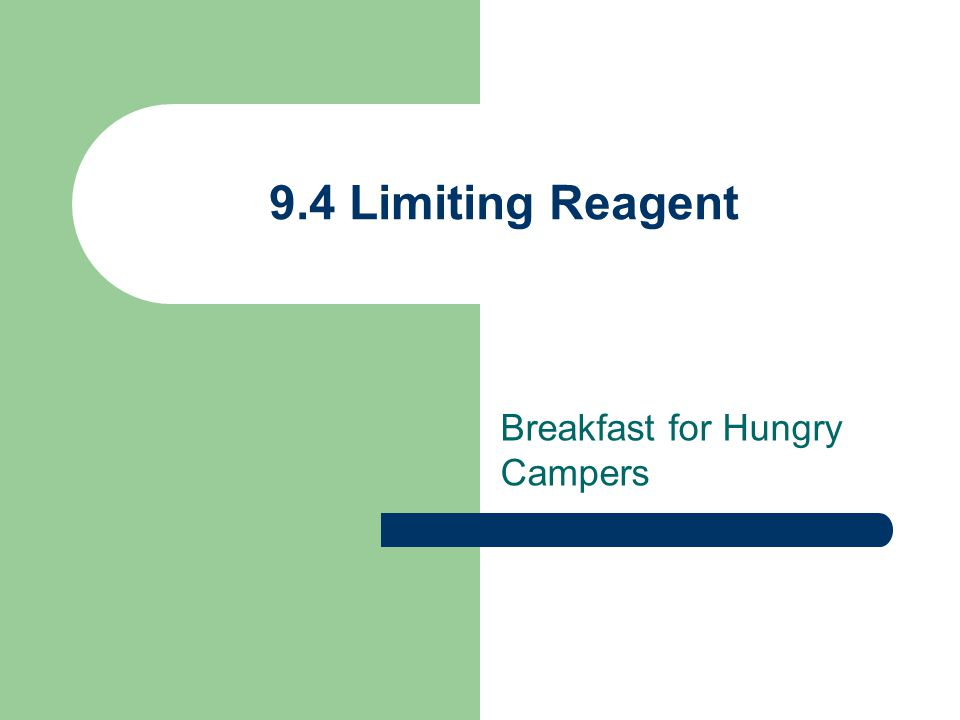 9.4 Limiting Reagent Breakfast for Hungry Campers