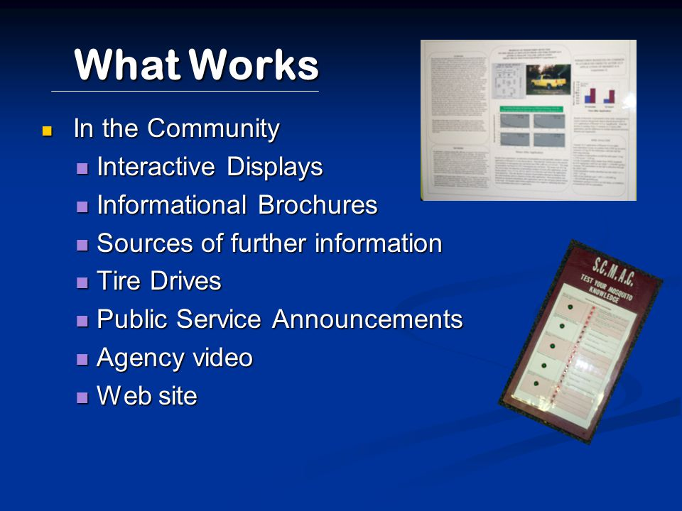 What Works In the Community In the Community Interactive Displays Interactive Displays Informational Brochures Informational Brochures Sources of furt
