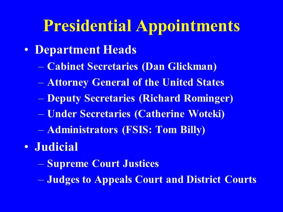 Presidential Appointments Department Heads –Cabinet Secretaries (Dan Glickman) –Attorney General of the United States –Deputy Secretaries (Richard Rom