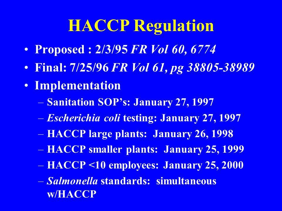 HACCP Regulation Proposed : 2/3/95 FR Vol 60, 6774 Final: 7/25/96 FR Vol 61, pg 38805-38989 Implementation –Sanitation SOPs: January 27, 1997 –Escheri