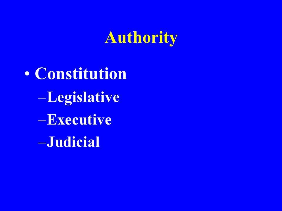 Authority Constitution –Legislative –Executive –Judicial