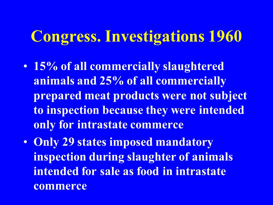 15% of all commercially slaughtered animals and 25% of all commercially prepared meat products were not subject to inspection because they were intend