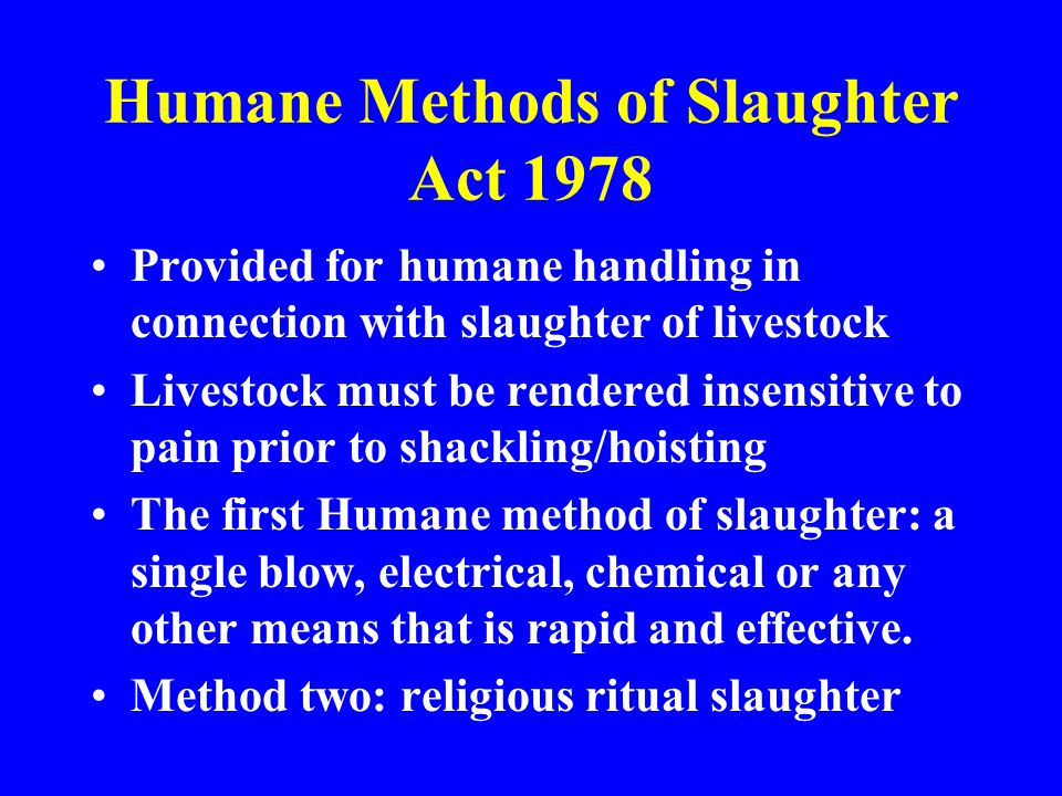 Humane Methods of Slaughter Act 1978 Provided for humane handling in connection with slaughter of livestock Livestock must be rendered insensitive to