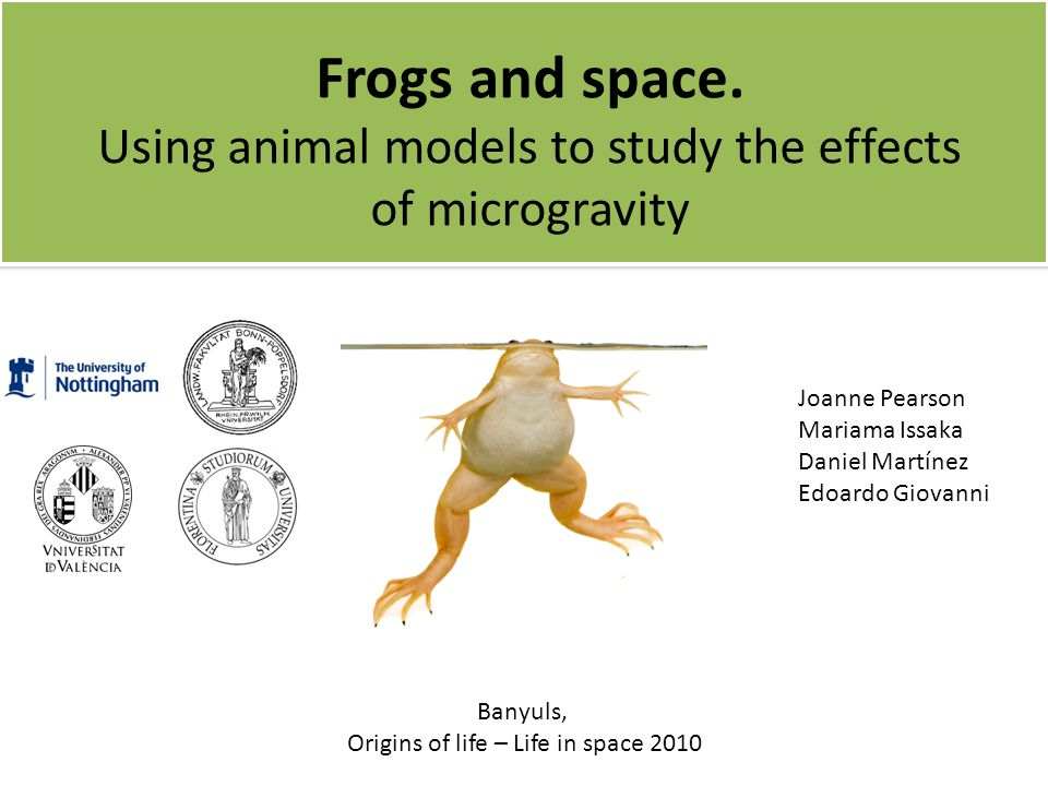 Frogs and space. Using animal models to study the effects of microgravity Joanne Pearson Mariama Issaka Daniel Martínez Edoardo Giovanni Banyuls, Orig