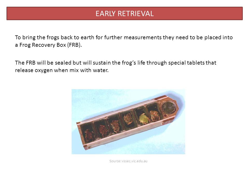To bring the frogs back to earth for further measurements they need to be placed into a Frog Recovery Box (FRB).