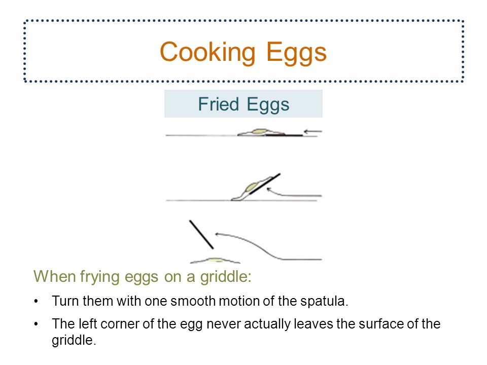 Cooking Eggs 25 Fried Eggs When frying eggs on a griddle: Turn them with one smooth motion of the spatula.