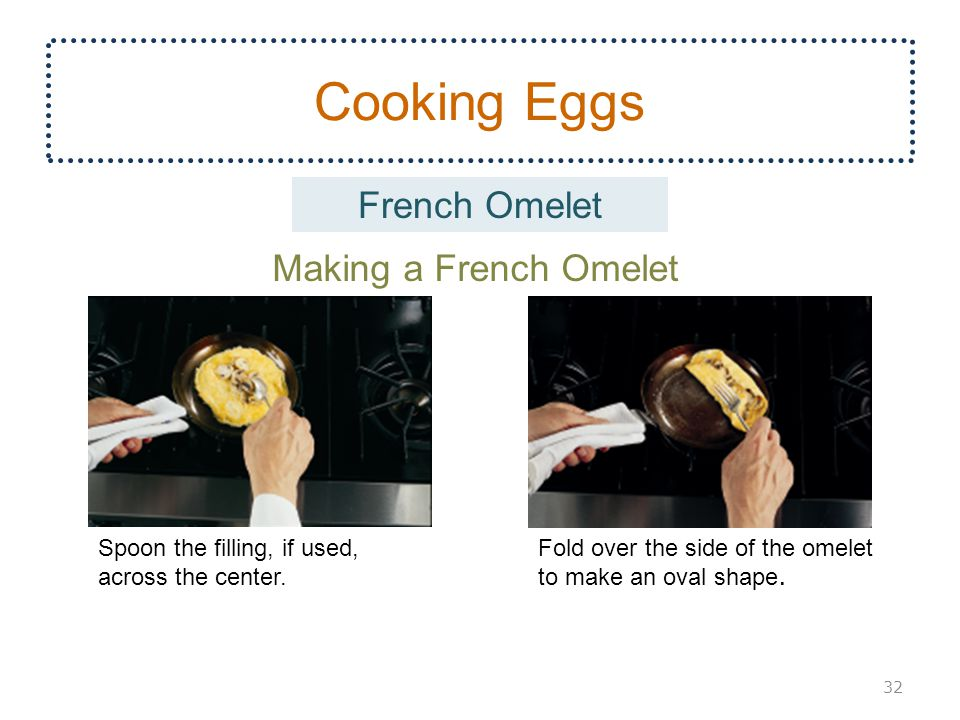 Cooking Eggs 32 Making a French Omelet Spoon the filling, if used, across the center.