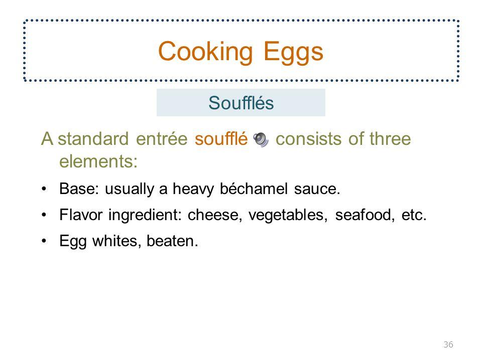 Cooking Eggs A standard entrée soufflé consists of three elements: Base: usually a heavy béchamel sauce.