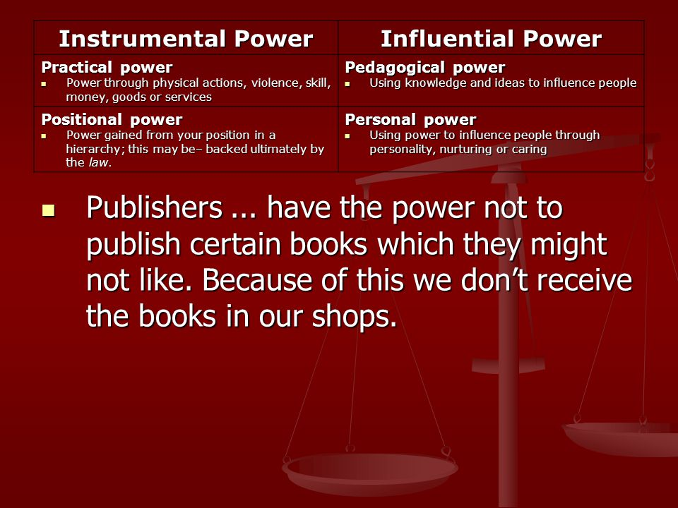 Publishers... have the power not to publish certain books which they might not like.