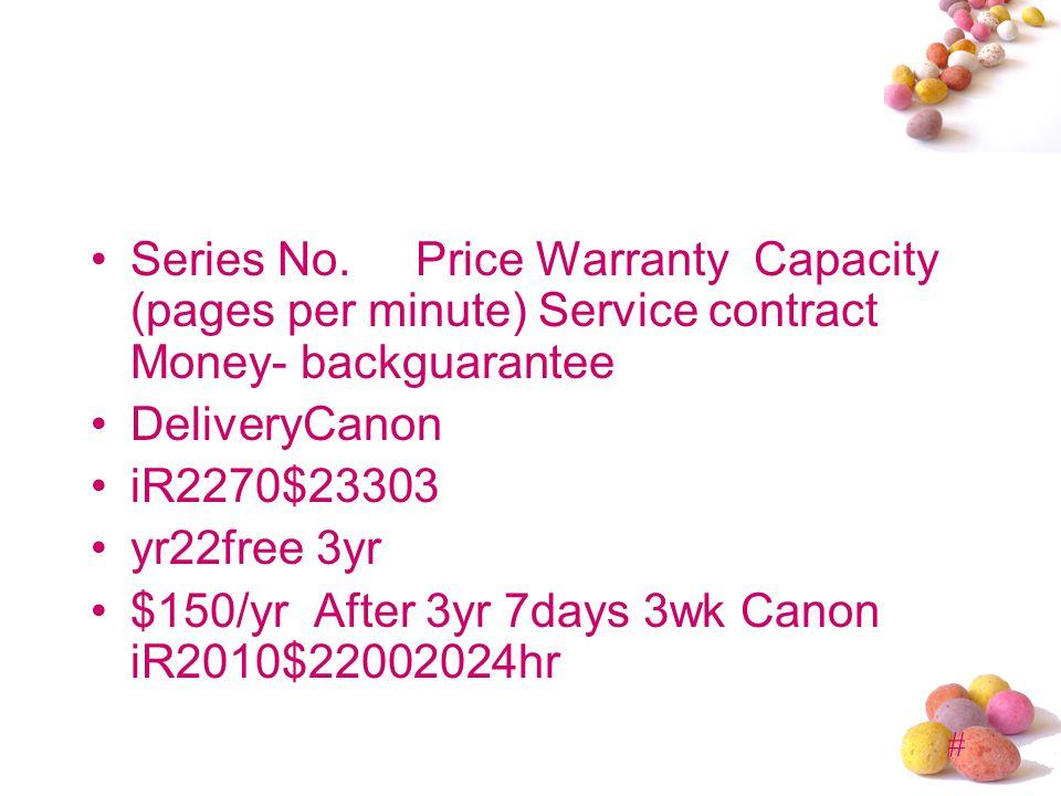 # Series No. Price Warranty Capacity (pages per minute) Service contract Money- backguarantee DeliveryCanon iR2270$23303 yr22free 3yr $150/yr After 3y
