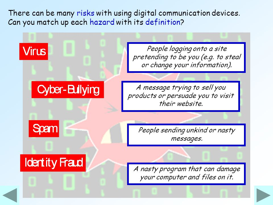There can be many risks with using digital communication devices.