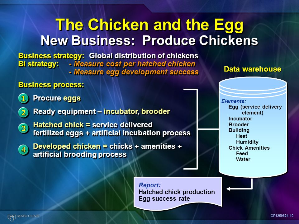 Report: Hatched chick production Egg success rate The Chicken and the Egg New Business: Produce Chickens CP1259624-10 Business strategy: Global distribution of chickens BI strategy: - Measure cost per hatched chicken - Measure egg development success Business process: Procure eggs Ready equipment – incubator, brooder Hatched chick = service delivered fertilized eggs + artificial incubation process Developed chicken = chicks + amenities + artificial brooding process Business strategy: Global distribution of chickens BI strategy: - Measure cost per hatched chicken - Measure egg development success Business process: Procure eggs Ready equipment – incubator, brooder Hatched chick = service delivered fertilized eggs + artificial incubation process Developed chicken = chicks + amenities + artificial brooding process Data warehouse Elements: Egg (service delivery element) Incubator Brooder Building Heat Humidity Chick Amenities Feed Water