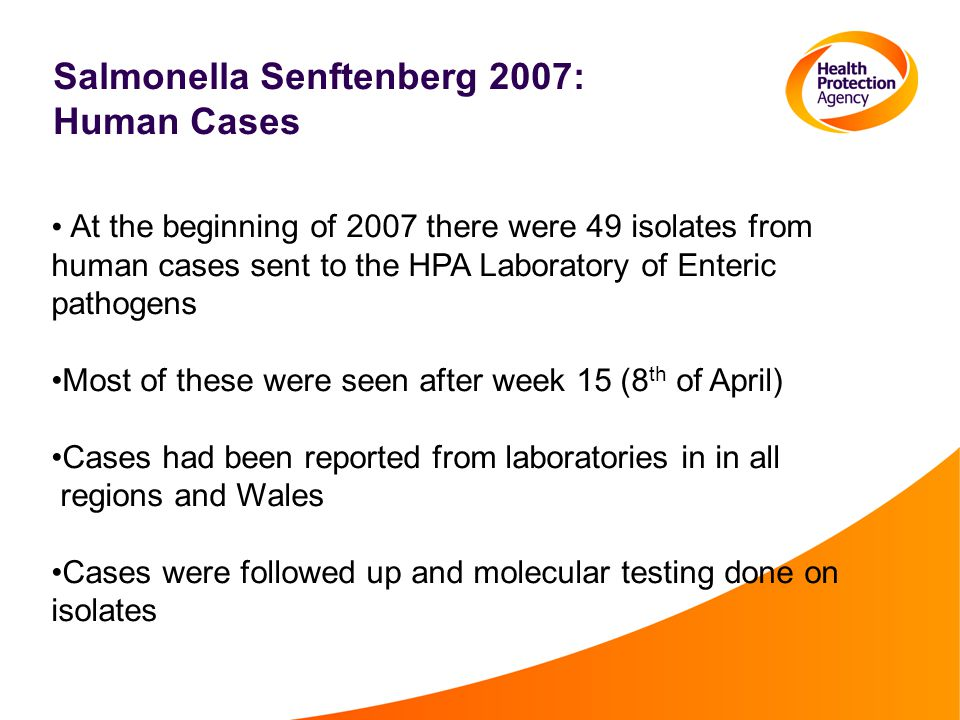 Salmonella Senftenberg 2007: Human Cases At the beginning of 2007 there were 49 isolates from human cases sent to the HPA Laboratory of Enteric pathogens Most of these were seen after week 15 (8 th of April) Cases had been reported from laboratories in in all regions and Wales Cases were followed up and molecular testing done on isolates