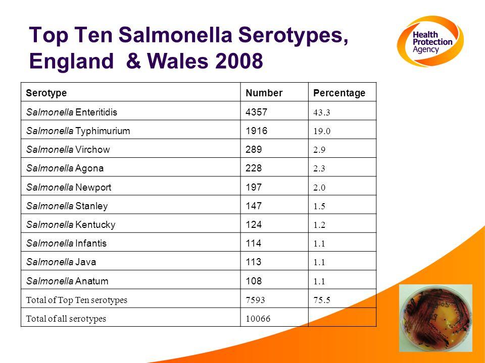 Top Ten Salmonella Serotypes, England & Wales 2008 SerotypeNumberPercentage Salmonella Enteritidis4357 43.3 Salmonella Typhimurium1916 19.0 Salmonella Virchow289 2.9 Salmonella Agona228 2.3 Salmonella Newport197 2.0 Salmonella Stanley147 1.5 Salmonella Kentucky124 1.2 Salmonella Infantis114 1.1 Salmonella Java113 1.1 Salmonella Anatum108 1.1 Total of Top Ten serotypes759375.5 Total of all serotypes10066