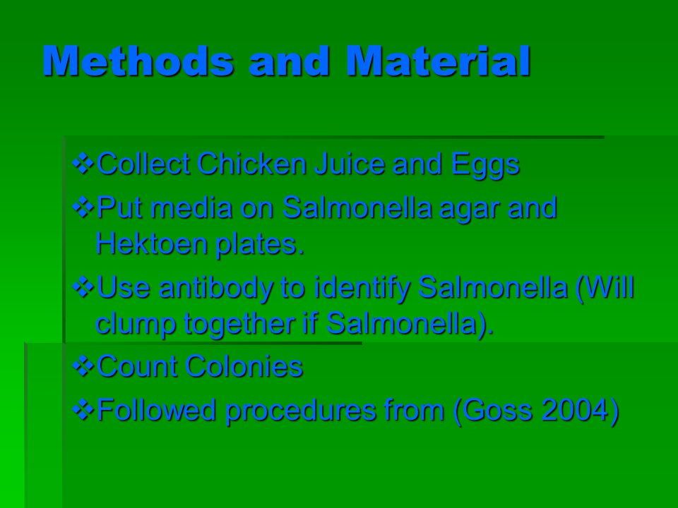 Methods and Material Collect Chicken Juice and Eggs Collect Chicken Juice and Eggs Put media on Salmonella agar and Hektoen plates.