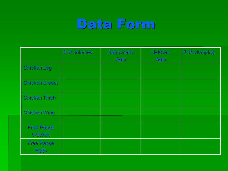 Data Form # of colonies SalmonellaAgarHektoenAgar # of Clumping Chicken Leg Chicken Breast Chicken Thigh Chicken Wing Free Range Chicken Eggs