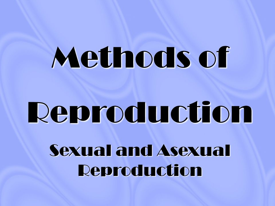 Methods of Reproduction Sexual and Asexual Reproduction