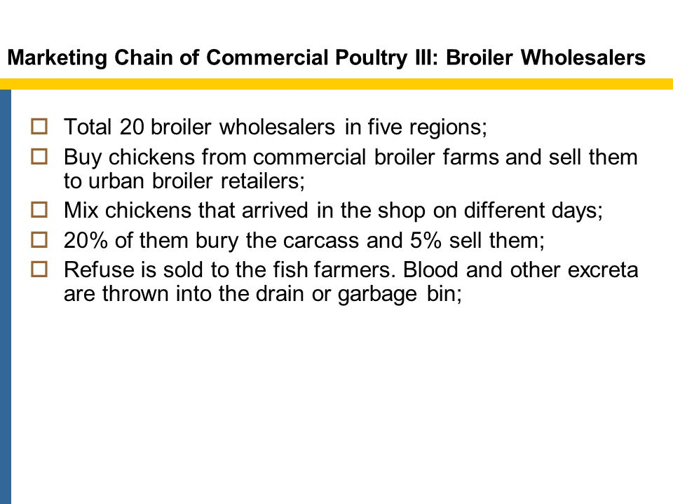 Marketing Chain of Commercial Poultry III: Broiler Wholesalers Total 20 broiler wholesalers in five regions; Buy chickens from commercial broiler farms and sell them to urban broiler retailers; Mix chickens that arrived in the shop on different days; 20% of them bury the carcass and 5% sell them; Refuse is sold to the fish farmers.