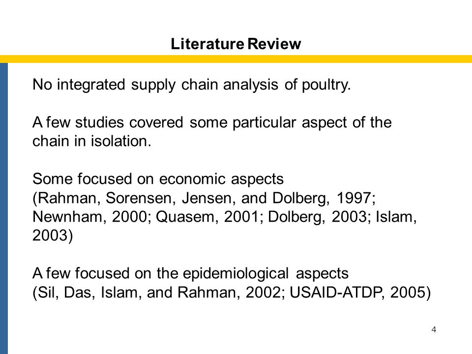 Objectives of the Study 5 In understanding the supply chain of poultry, this study examines: 1.Marketing channels and participants 2.Costs, margins and profits associated with marketing and the process of price formation 3.Possible channels through which poultry diseases spread and threaten bird and human lives.